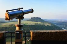 Telescope at the northern side of fortress with view to Lilienstein © Sven Spindler / Festung Königstein gGmbH